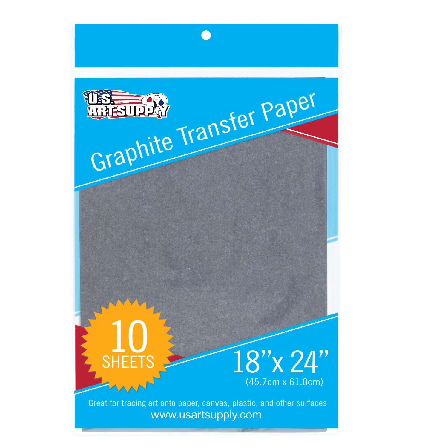 U.S. Art Supply Graphite Carbon Transfer Paper 18 x 24 - 10 Sheets - Black Tracing Paper for all Art Surfaces US Art Supply GTP18X24-10
