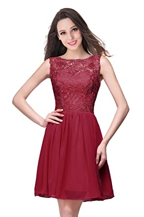 Babyonlinedress Chiffon Short Prom Dresses Cute Sheer Lace Homecoming Dress,Burgundy,Size 2