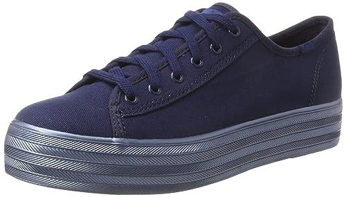 KedsTpl Kick Shimmer Can. - Zapatos Planos con Cordones Mujer, Color Azul, Talla 39