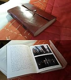 "Gusti Cuir nature ""Anne"" livre avec couverture en cuir bloc note journal intime agenda calepin"
