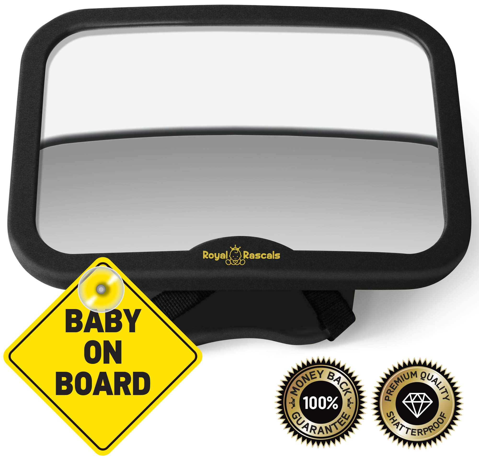 ROYAL RASCALS Baby Car Mirror for Back Seat - Free Baby on Board Sign - Shatterproof Baby Mirror for Car - Rear View Baby Car Seat Mirror to See Rear Facing Infants and Babies by Royal Rascals