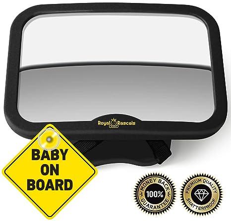 ROYAL RASCALS Espejo para vigilar al bebé en el coche, de niños orientado hacia atrás, Se adapta a cualquier resposacabezas ajustable, Función de ...