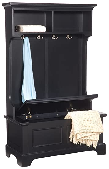 Superb Home Styles 5531 49 Bedford Hall Tree And Storage Bench, Black Finish