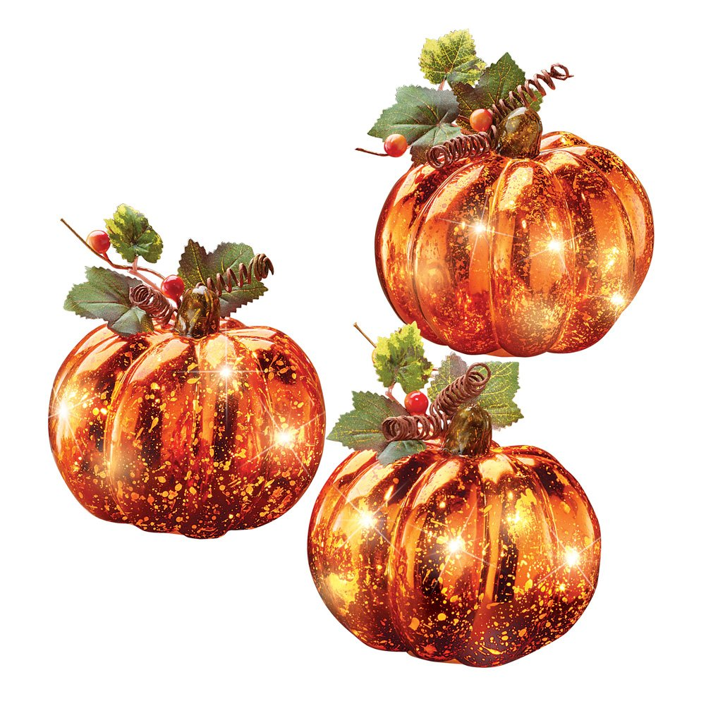 3 Pc Collections Etc Lighted Harvest Pumpkin Set Fall Home Decor