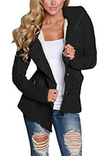9b87ff1921 Asvivid Womens Chunky Turtle Cowl Neck Asymmetric Hem Wrap Sweater Coat  with Button Details AF27689-X Christmas presents