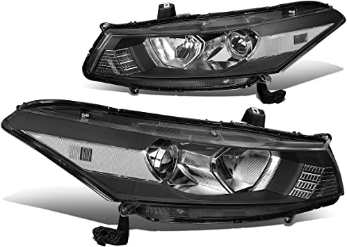 Replacement for Honda Accord CG Pair of Black Housing Clear Corner Headlight Lamp