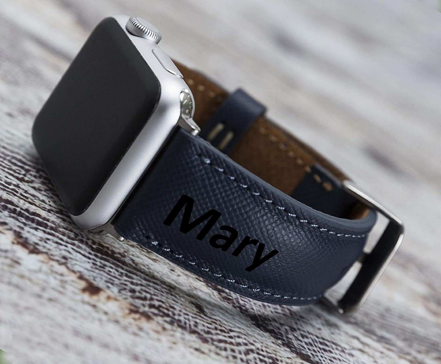 Personalized Apple Watch Band 44mm 42mm 40mm 38mm Bitrthday Gift Genuine Leather High Quality iWatch Strap, Handmade Bull Strap, Made by First Class Cowhide Leather, Series 6-5 - 4-3 - 2-1