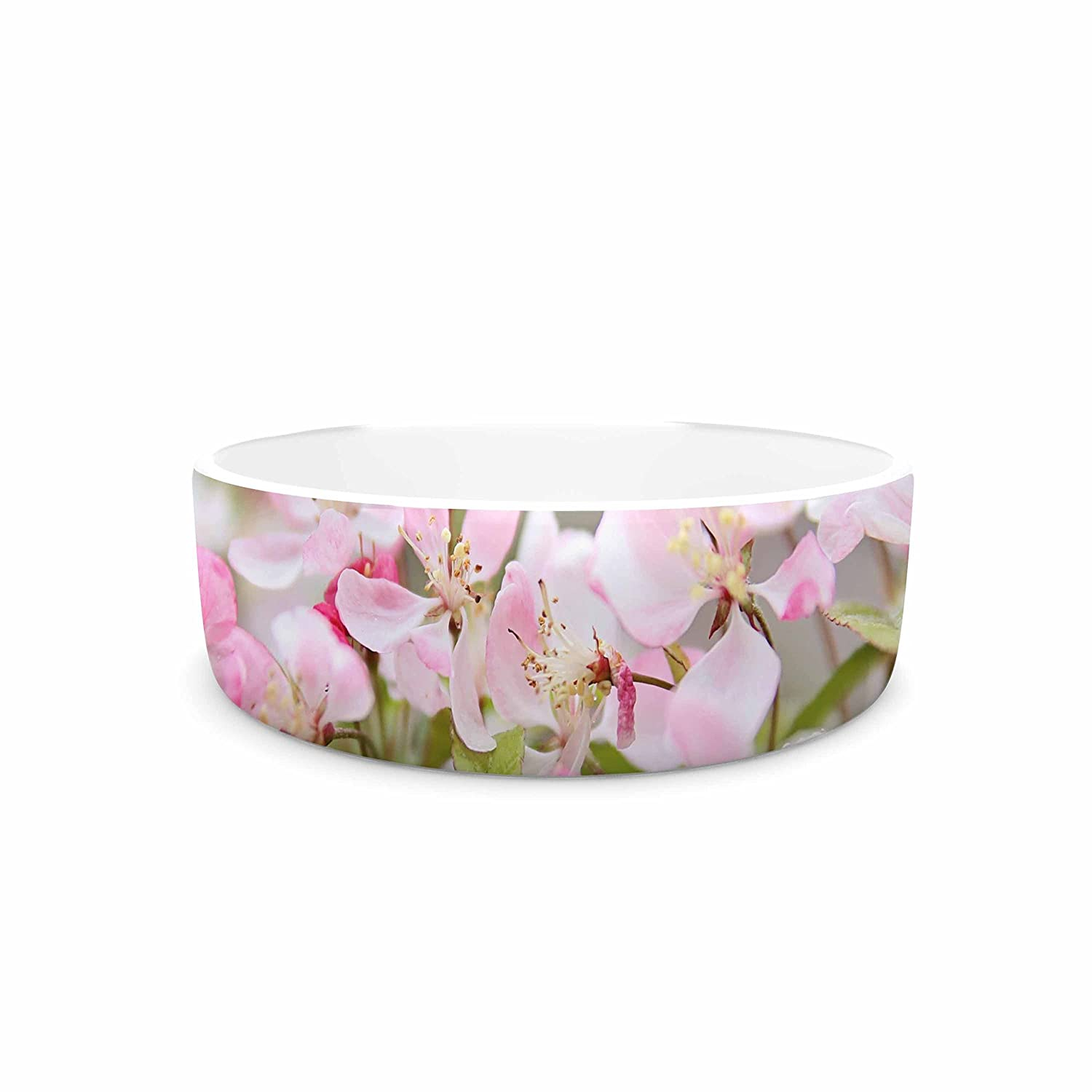 KESS InHouse Sylvia Cook April Flowers  Pink White Pet Bowl, 7
