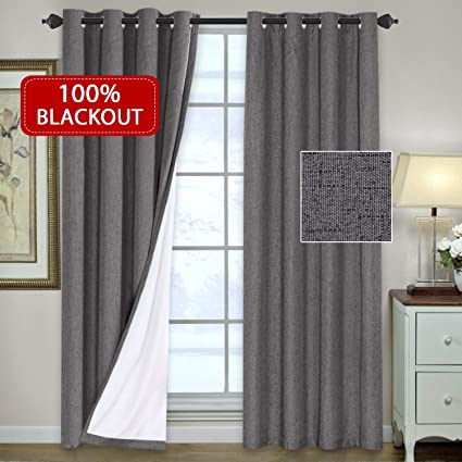 H.VERSAILTEX 100% Blackout Thermal Curtains Bedroom Energy Efficient Lined  Blackout Drapes Living Room Window Treatment Set 52 x 96 inches Curtain ...