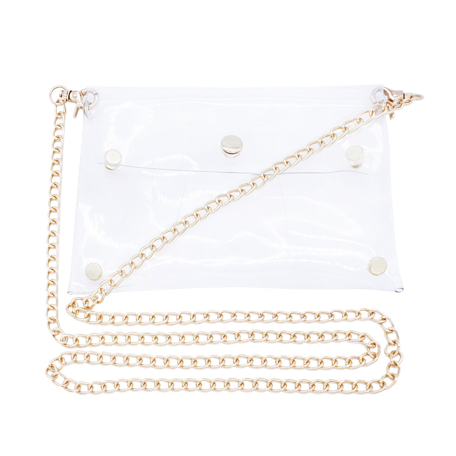 Transparent Shoulder Bag PVC Messenger Clear Cross Body Bags with Gold Chain …