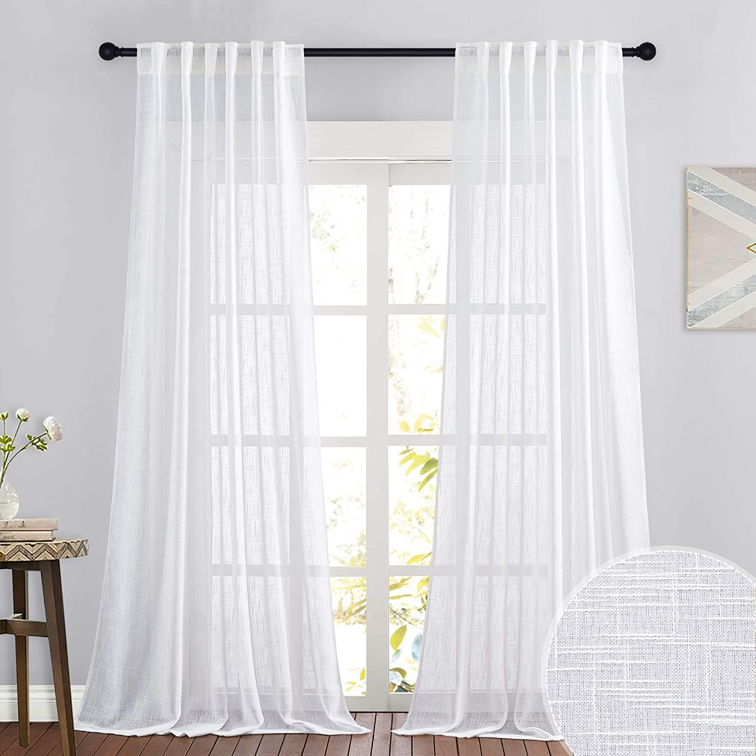RYB HOME Linen Sheer Curtains for Living Room Textured Semi Sheer Curtains Rod Pocket & Back Tab Style Window Treatment for Bedroom Patio Door, White, 52 inch Width x 108 inch Length, 2 Panels