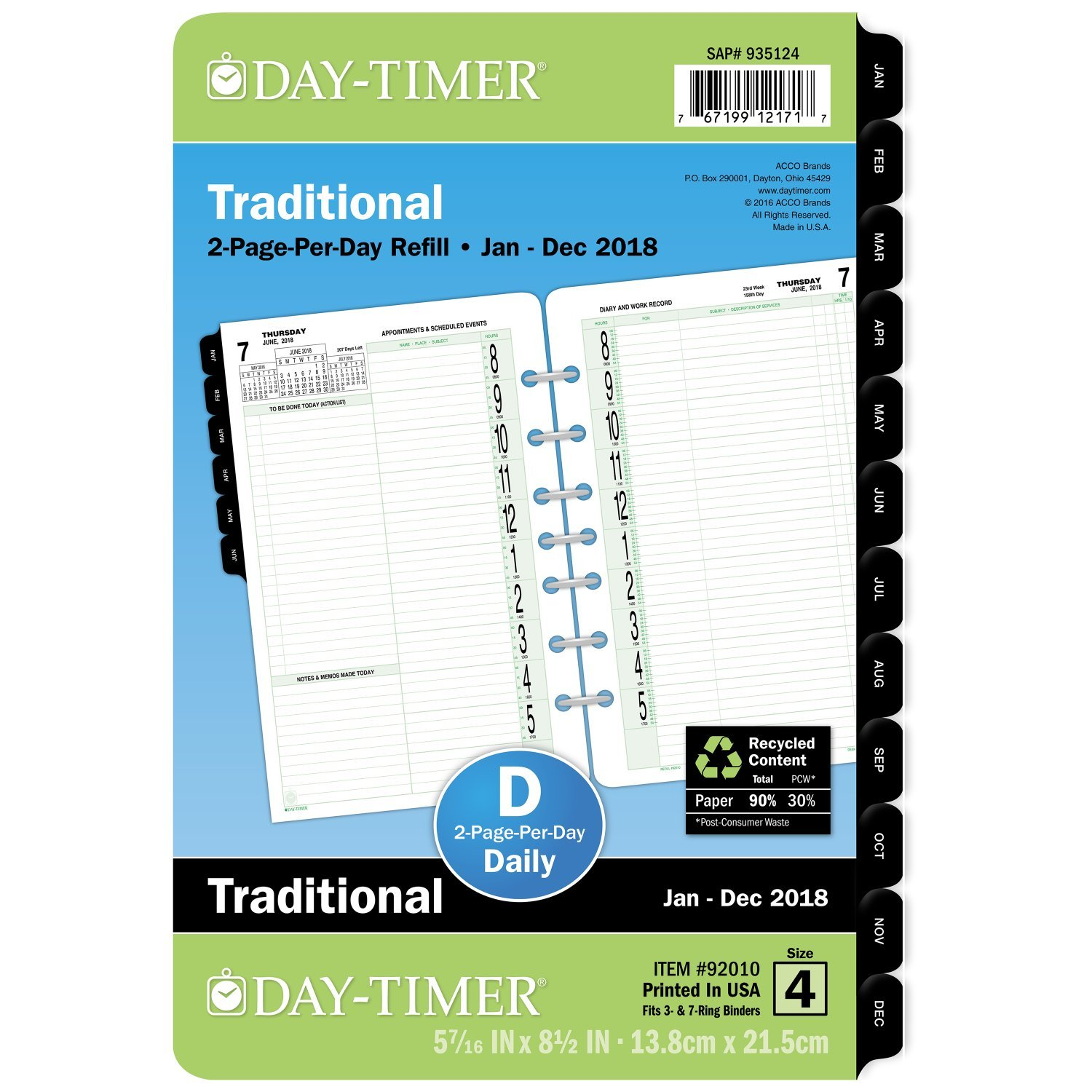 Day-Timer Planner Refill, Two Page Per Day, January - December 2018, 5-7/16'' x 8-1/2'', Desk Size (92010) by Day-Timer
