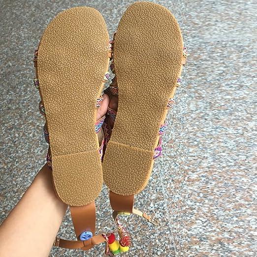 Sandalias Mujer Verano 2019, YiYLinneo Sandalias De Bohemia Chancletas De Cuero De Gladiador Zapatos Bajos Flipflop Zapatillas Shoes: Amazon.es: Ropa y ...