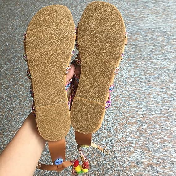 Sandalias Mujer Verano 2019, YiYLunneo Sandalias De Bohemia Chancletas De Cuero De Gladiador Zapatos Bajos Flipflop Zapatillas Shoes: Amazon.es: Ropa y ...