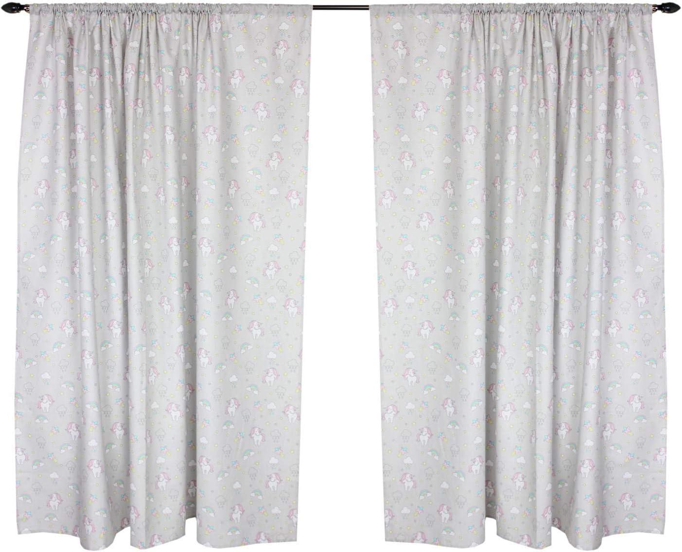 2 Paneles Puntos Estrellas Gris TupTam Cortinas para Habitaci/ón de Ni/ños c 155x155 cm