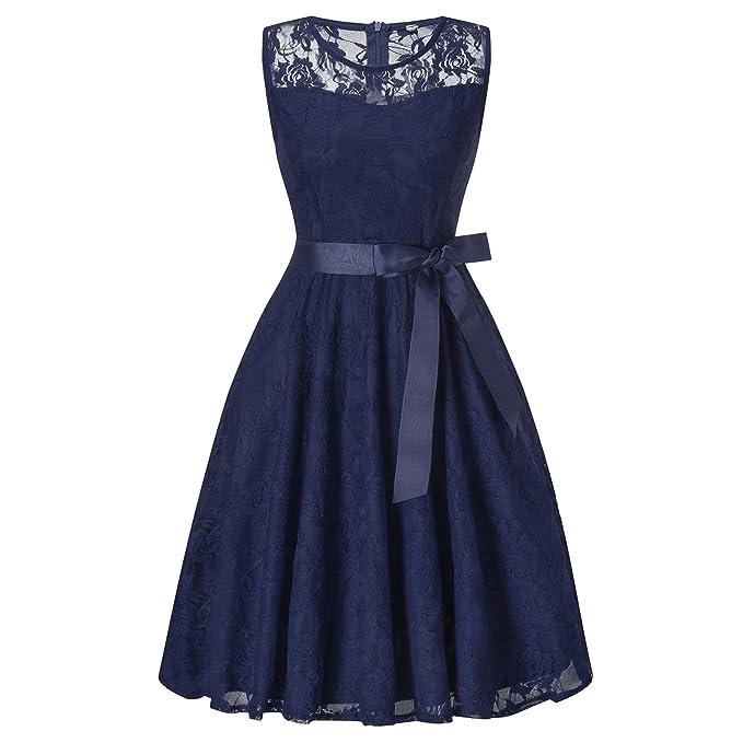 Vestido de Encaje Sin Mangas Elegantes de Fiesta Coctel Noche Para Mujer, S, Azul