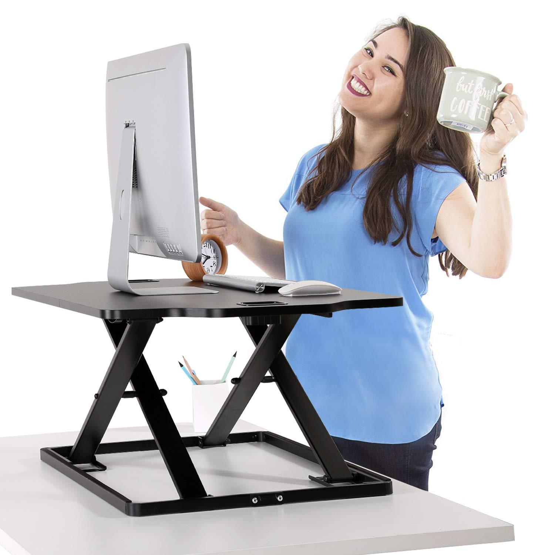 PUTORSEN® Höhenverstellbar Sitz-Steh-Schreibtisch Computertisch - Schreibtischaufsatz Steharbeitsplatz Standtisch - Tabletop Stehpult Konverter für Ergonomic Comfort (32& 039;& 039; - Schwarz)