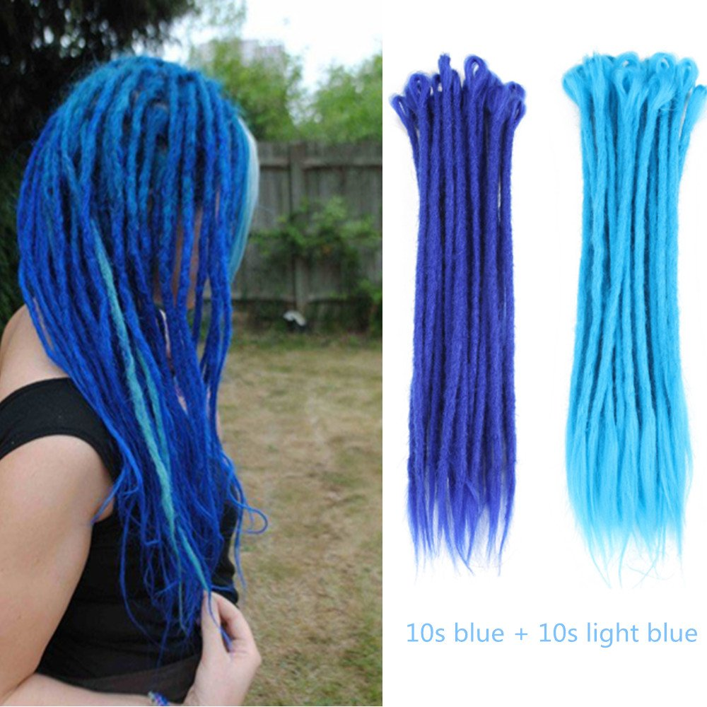 AOSOME 18 Inch/20pcs Mixed Blue Color Crochet Dreadlocks Extensions All Handmade Synthetic Hair Extension, 10pcs Blue plus 10pcs Light Blue
