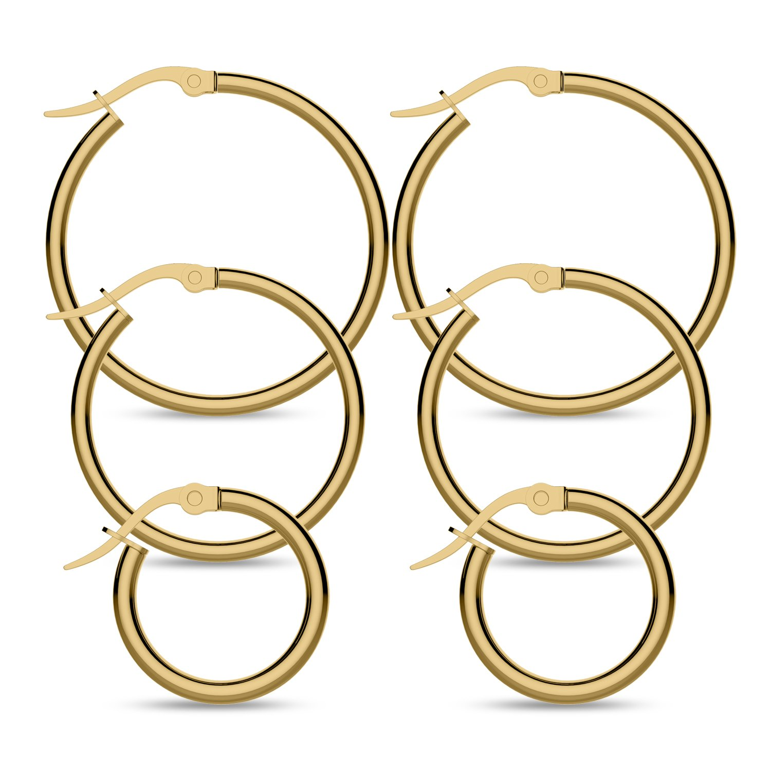 Hoop Earring,UHIBROS Stainless Steel Teardrop Hoop Earring Sets for Women Hypoallergenic 3 Pairs (Teardrop Hoop Earring Gold)