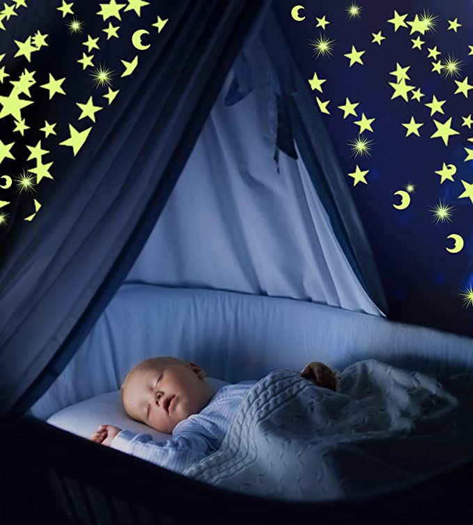Amazon Com Glow In The Dark Stars For Ceiling With Moon Fluorescent Ceiling Stars For Kids Estrellas Fluorescentes Para Niños Glow Moon And Stars Set For Bedrooms And Nurseries Pack