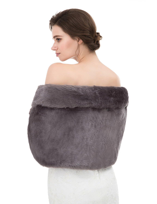 CIRCLEWLD Faux Fur Wrap Bride Winter Wedding Cover Up Shawl Evening Women Stole Shrug Long P716