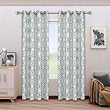 BONZER Linen Textured Diamond Print Curtains - Light Filtering Grommet Window Drapes for Bedroom, Living Room, 52 x 84…