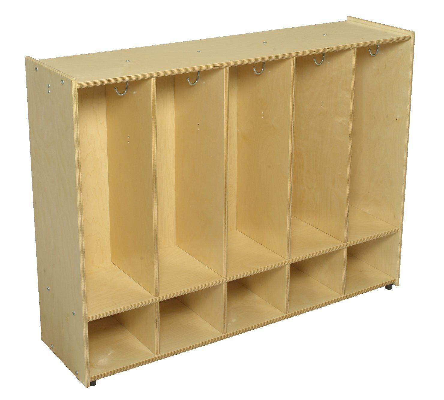 Childcraft 1526401 ABC Furnishings armario de 5 secciones para abrigos, 36 pulgadas de alto, 13 pulgadas de ancho, 48 pulgadas de largo, madera natural: ...
