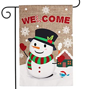 WATINC Burlap Welcome Garden Flag with Snowman for Christmas Decorations, Double Sided Flags with Snowflakes Animal for House Yard Winter Party Decor, Season Home Outdoor Flag Garden 18.5 x 12.4 Inch