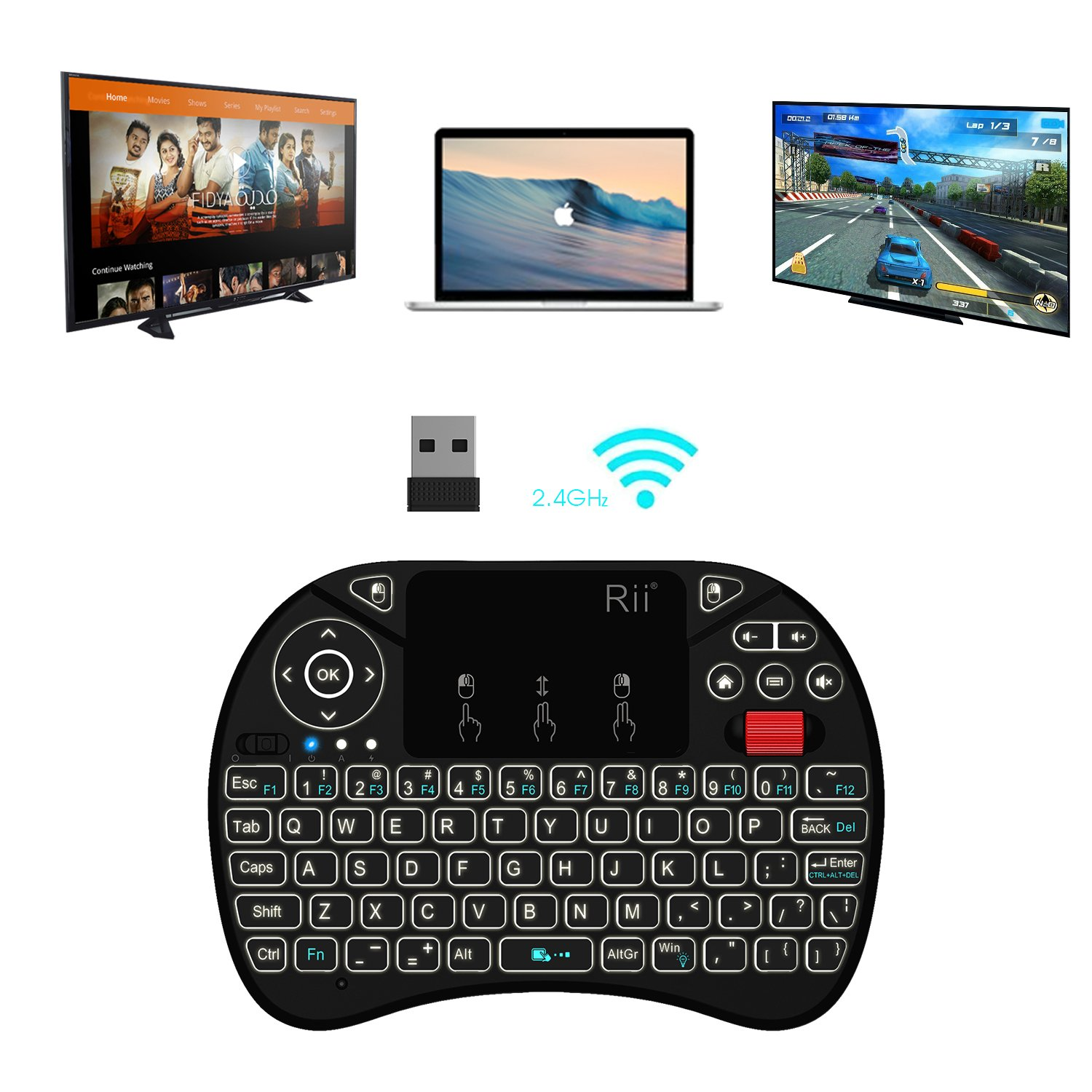 2018 Rii i8X 2.4GHz Mini Wireless Keyboard with Touchpad Mouse Combo, LED Backlit,Rechargeable Li-ion Battery-Black by Rii (Image #4)