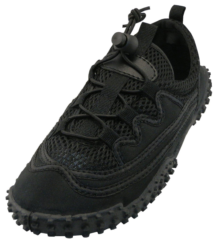 Cambridge Select Kids Mesh Quick Dry Slip-On Stretch Elastic Lace Non-Slip Water Shoe (Little Kid/Big Kid),2 M US Little Kid,Black/Black