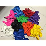 """Monicaxin 100(10 Colori x 10pc) Palloncini in Lattice in Vivaci colori assortiti 11 pollici / 28CM Pacco da 100 (Colori assortiti 11"""")"""