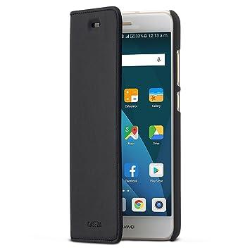CASEZA Huawei P20 Lite Funda Negro Tipo Libro Piel PU Case Cover Carcasa Plegable Cartera Oslo Piel Vegana Premium para Huawei P20 Lite (5.8