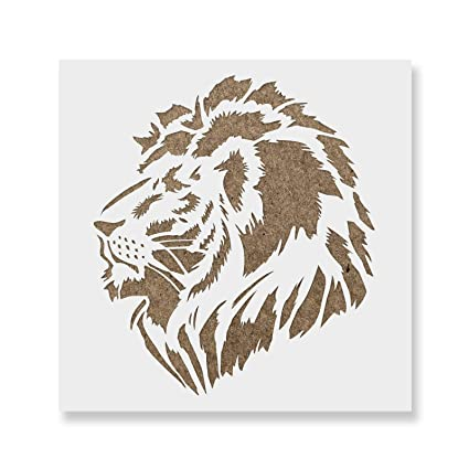 lion head stencil template for walls and crafts reusable stencils