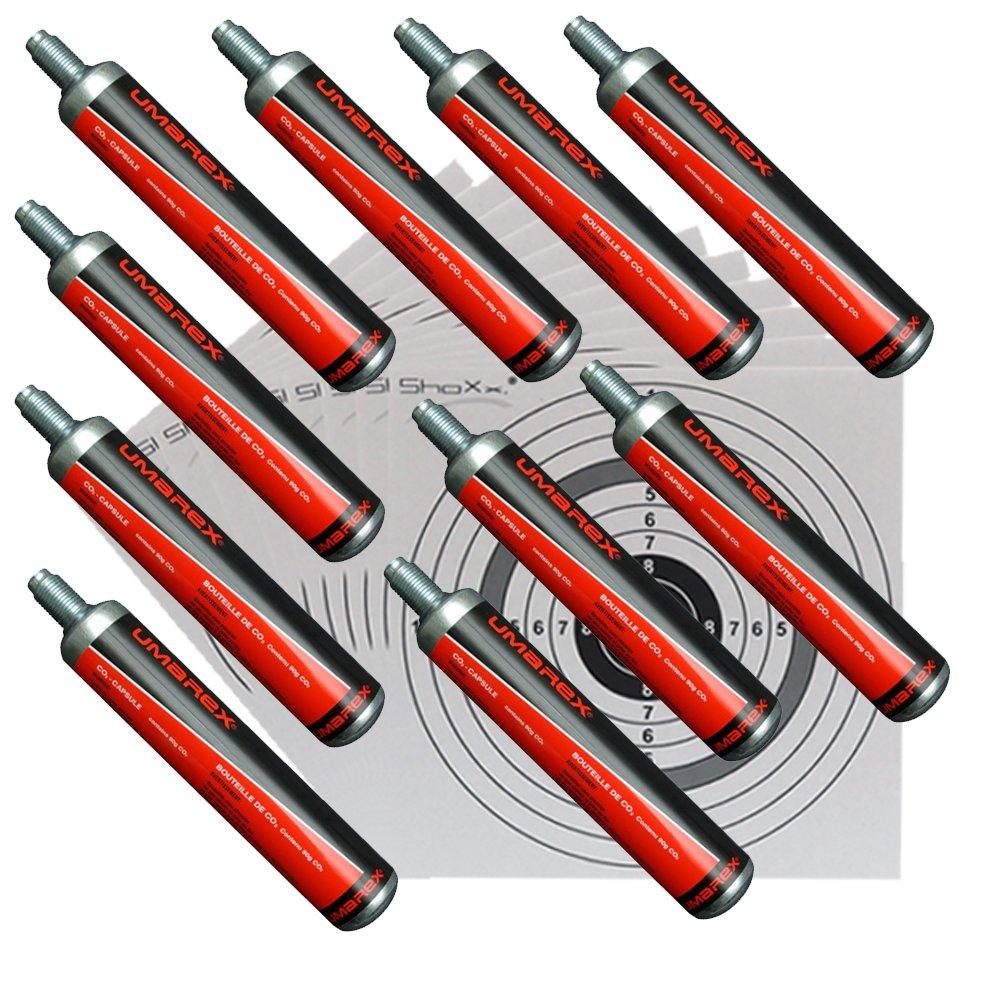 10 Co2 Kapseln 88g von Umarex für Gotcha ,Softair, Paintball, Co2 Gewehr + 10 ShoXx.® shoot-club Zielscheiben 14x14 cm mit zusätzlichen grauen Ring und 250 g/m²