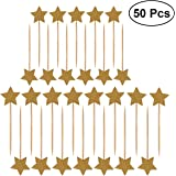 Ultnice 50 Pieces Stars Cake Topper Cover Glitter Birthday Cake Decoration Toppers (Gold)