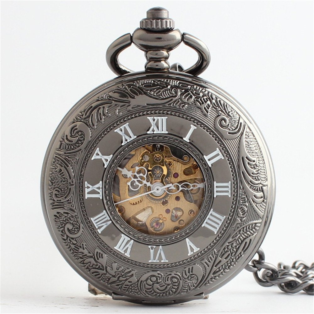 Zxcvlina Classic Smooth Exquisite Bronze Retro Mechanical Pocket Watch Hollowed Unisex Alloy Pocket Watch with Chain Suitable for Gift Giving