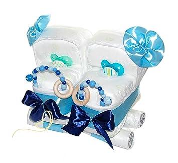 Geschenk f/ür Zwillinge zur Geburt // 50-teilig blau//blau 2x Teddyb/är Spieluhren dubistda/© Windeltorte Zwillinge B/ärenbr/üder inkl