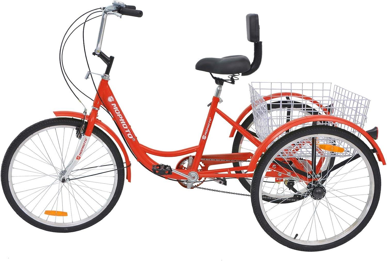 MOPHOTO Bicicleta de Tres Ruedas con Cesta Grande y Herramientas ...