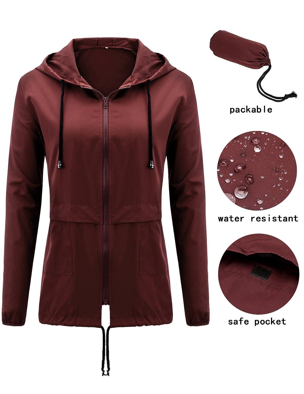 Uniboutique Women's Raincoat Waterproof Lightweight Hooded Outdoor Rain Jacket AM7867