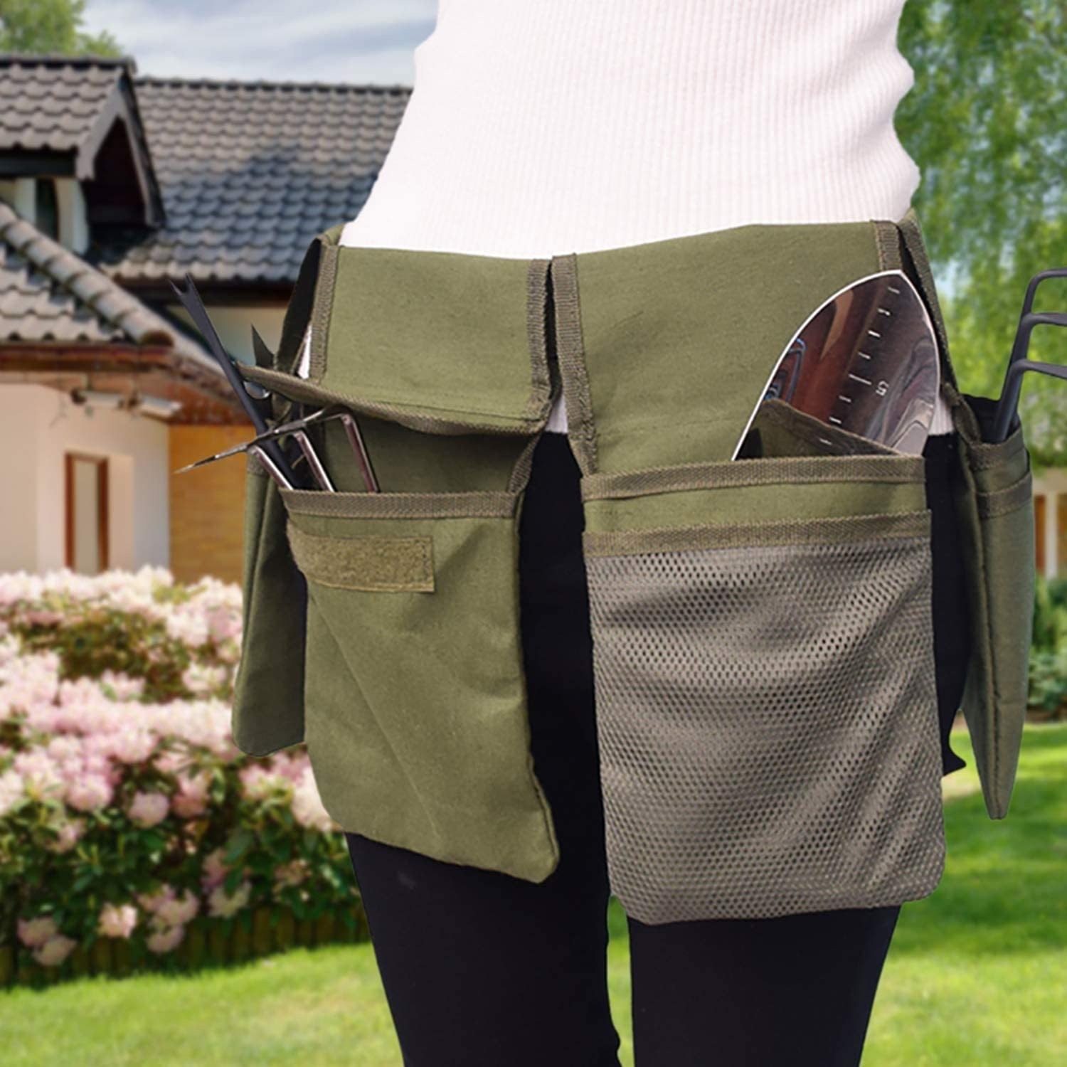 Gardening Tool Belt Bag - Canvas Waist Tool Apron Organizer Hanging Pouch with 4 Pockets, Waterproof