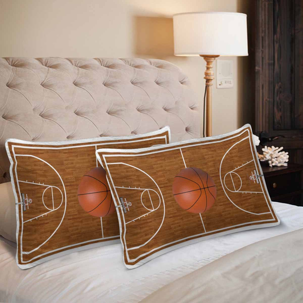 InterestPrint Sports Basketball Court Playtime Boys Wood Pillow Cases Pillowcase Standard Size 20x30 Set of 2, Rectangle Pillow Covers Protector for Home Couch Sofa Bedding Decorative by InterestPrint (Image #2)
