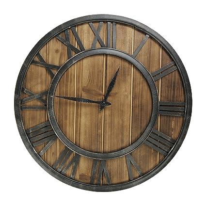 F.G.Y Reloj de Pared de Madera, 18 Pulgadas Clásico Grande de Metal Números Romanos silencioso