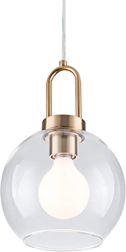 PAPAYA Globe Clear Glass Shade Chandeliers 1-Light Modern Kitchen Mini Pendant Light Fixture Gold Ceiling Lamp