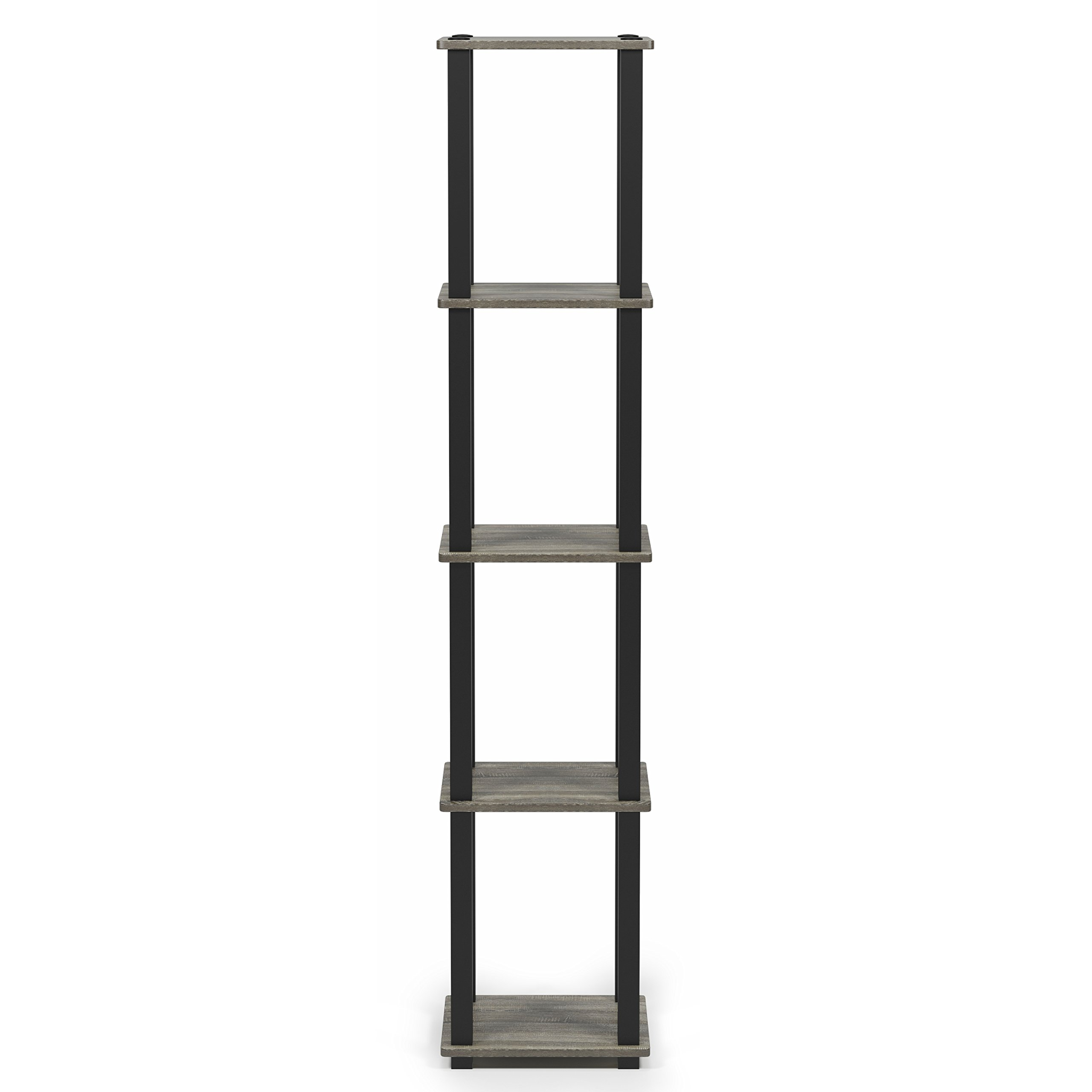 Furinno 18026GYW/BK Turn-S 5-Tier Compact Multipurpose Shelf, Square Tube, French Oak Grey/Black by Furinno (Image #5)
