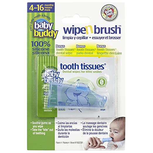 Amazon.com: Baby Buddy Wipe-N-Brush & 30 Wipes—Innovative 6-Stage Oral Care System Grows With Your Child—Stage 3 for Babies/Toddlers—Kids Love Them Clear 2 ...