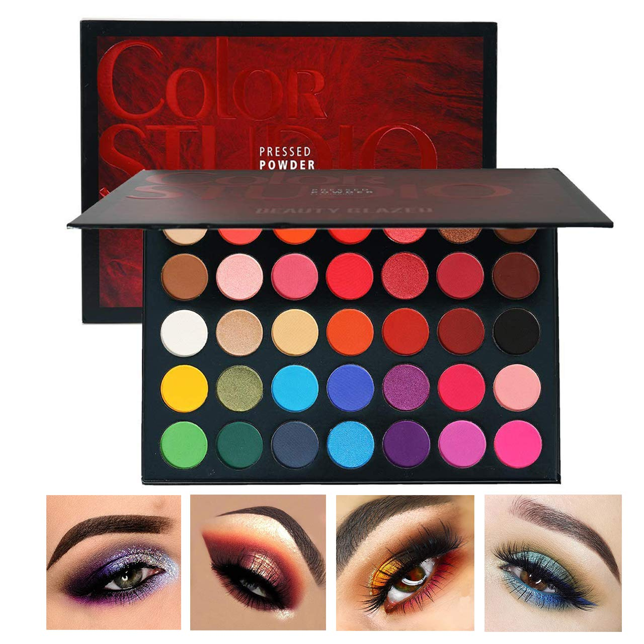 Beauty Glazed Sweatproof Matte and Shimmer Eyeshadow Make up Palettes Highly Pigmented 35 Colors Professional and Home Make up Big Palette Blendable Pressed Powder Eye shadow