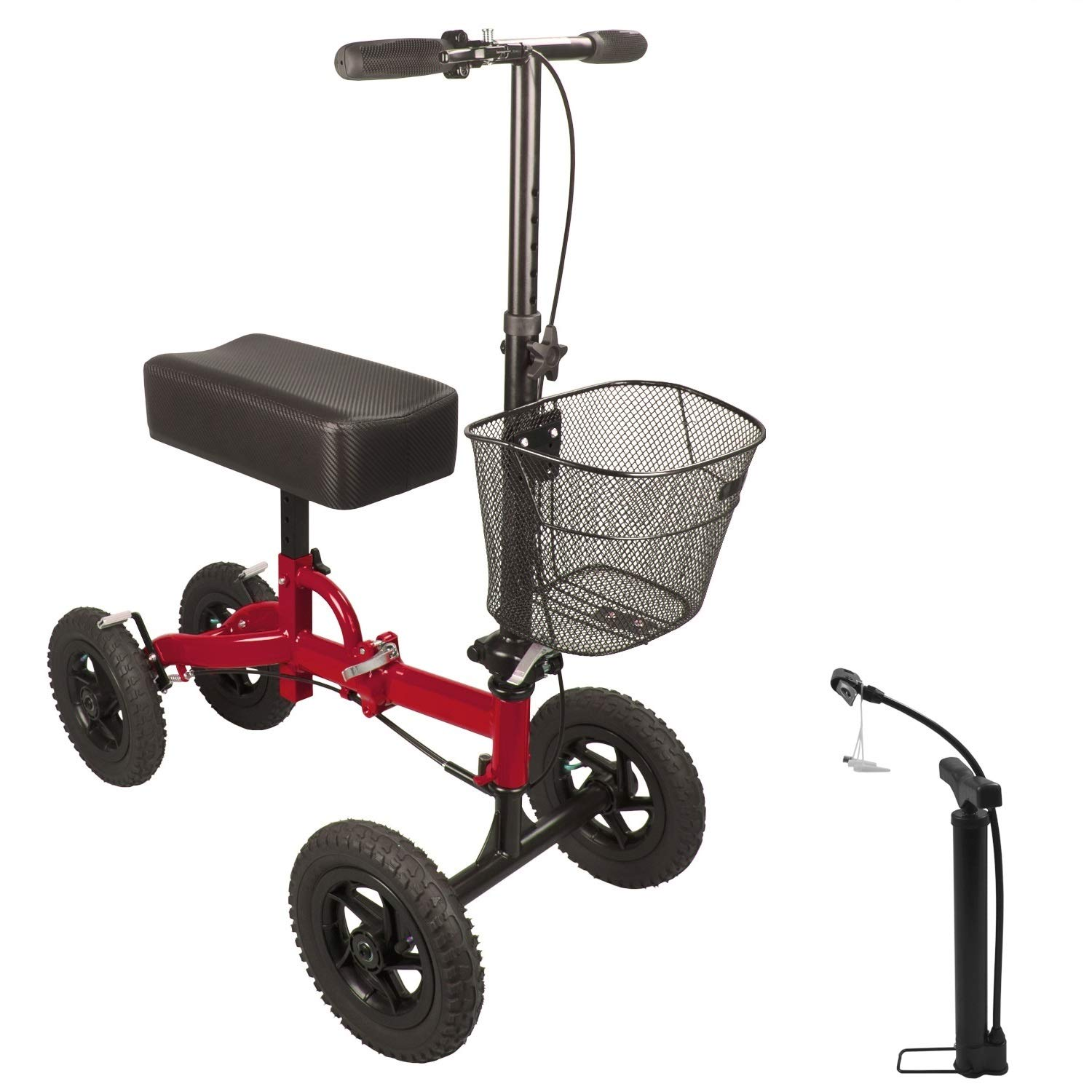 H&A All Terrain Rolling Knee Walker for Leg and Foot Injuries Crutch Steerable Alternative Medical Knee Scooter with Free Tire Pump (Red)