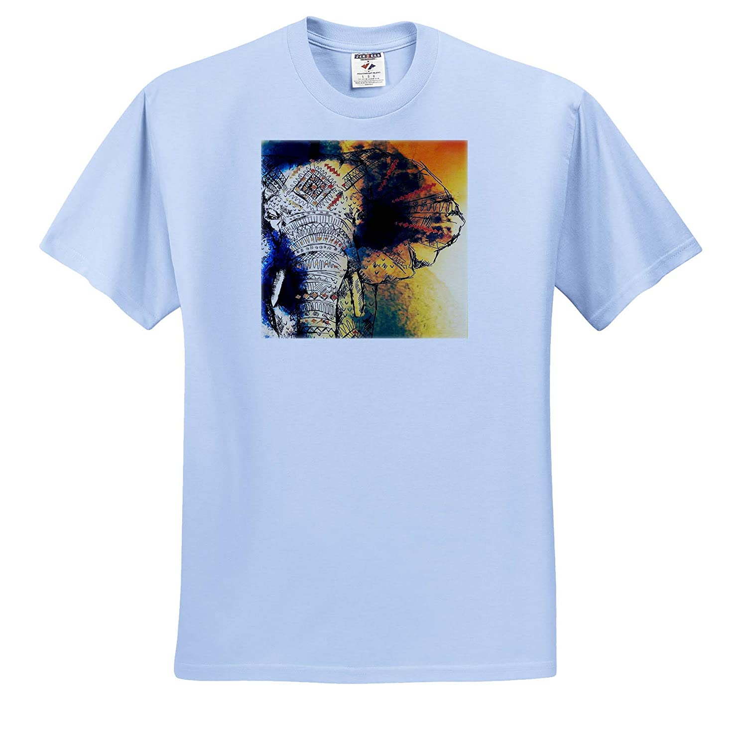 3dRose Lens Art by Florene Watercolor Art T-Shirts Image of Beautiful Colorful Watercolor of an Elephant