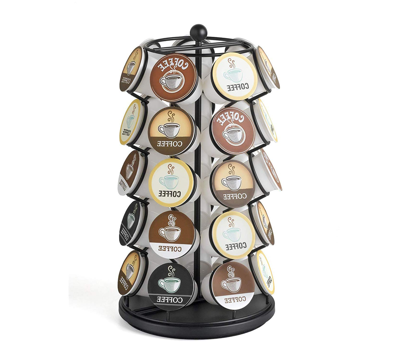 Wood & Style Premium Carousel - Holds 35 K-Cups in Black Storage