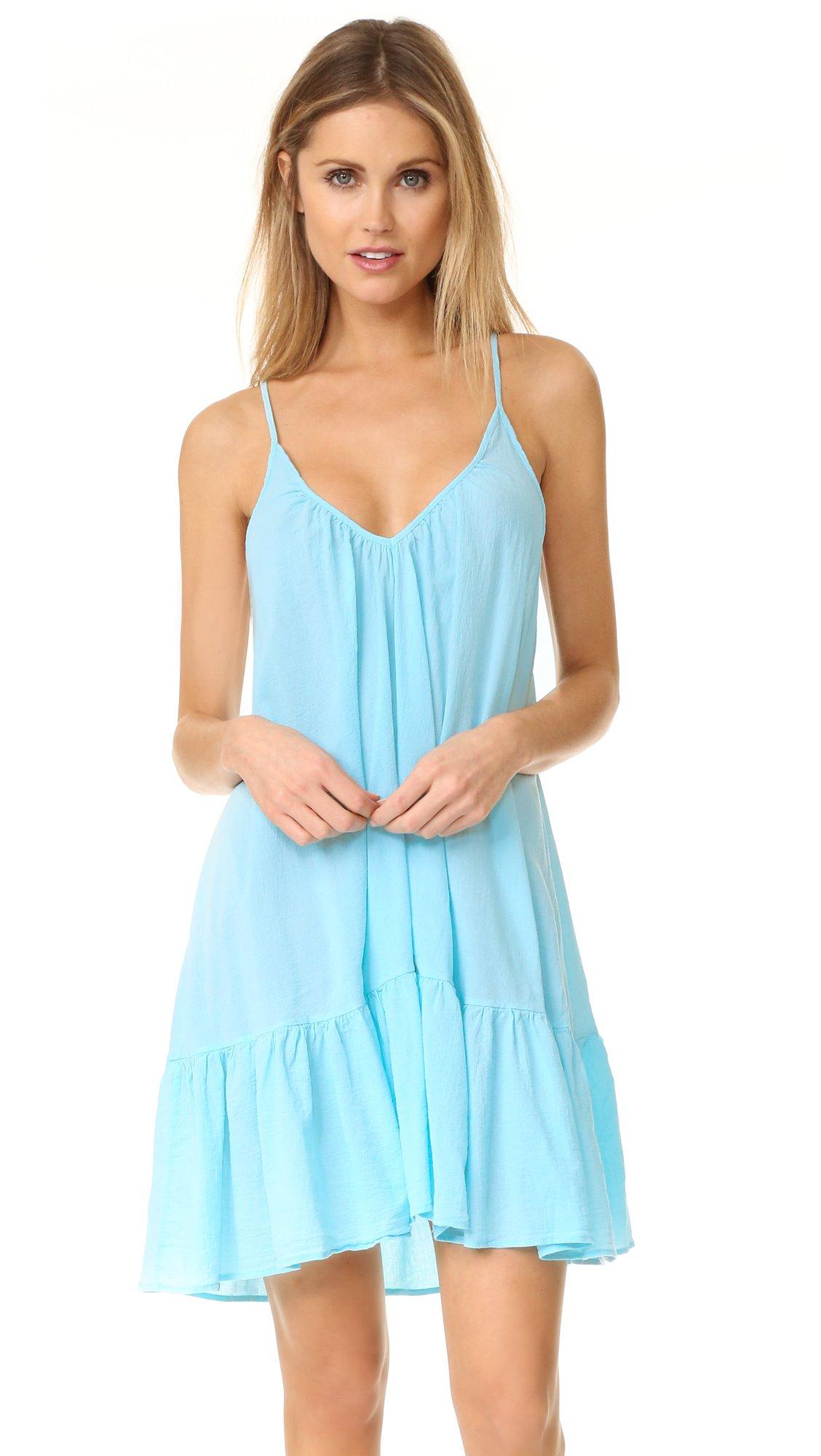 9seed Women's ST. Tropez Ruffle Mini Dress, Ocean, One Size